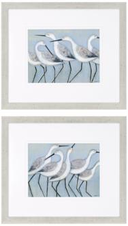 set of two shore birds framed wall art (n8013)