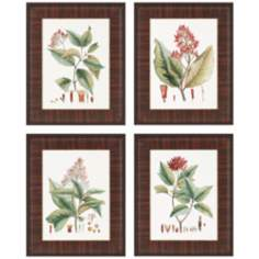 Set of Four Crimson Botanical Framed Wall Art