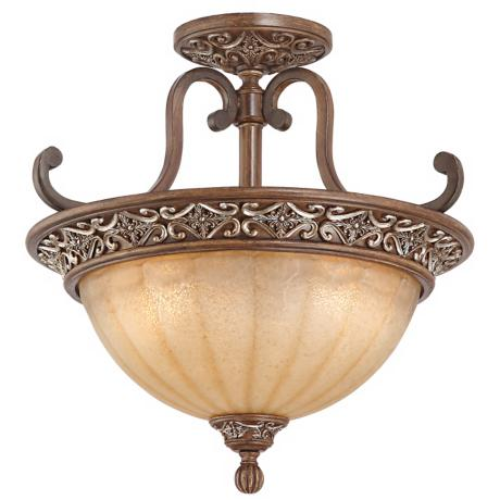 "Kathy Ireland Sterling Estate Bronze 18"" Wide Ceiling Light"