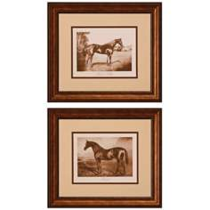 "Set of Two Race Horses 32"" Wide Wall Art"