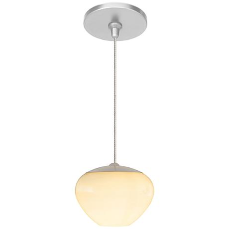"Cylia 5 1/2"" Wide Satin Nickel Opal Glass LED Mini Pendant"