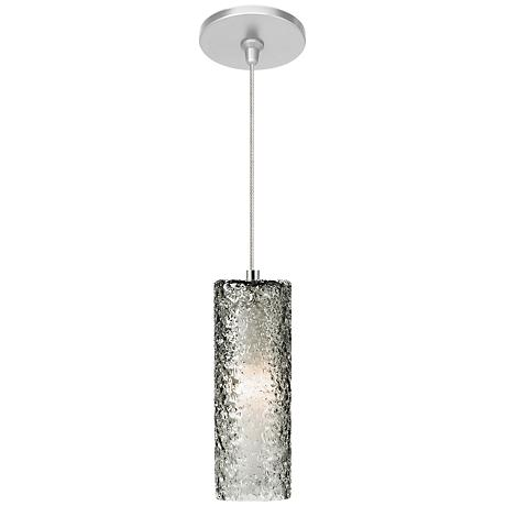 "Mini-Rock Candy 3 1/2""W Satin Nickel Smoke LED Mini Pendant"