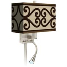 Cambria Scroll Giclee LED Reading Light Plug-In Sconce