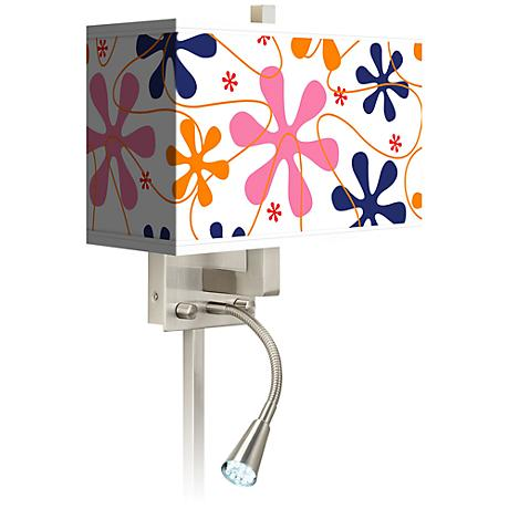 Retro Pink Giclee LED Reading Light Plug-In Sconce