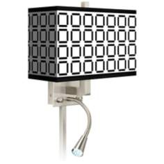 Open Grid Giclee LED Reading Light Plug-In Sconce