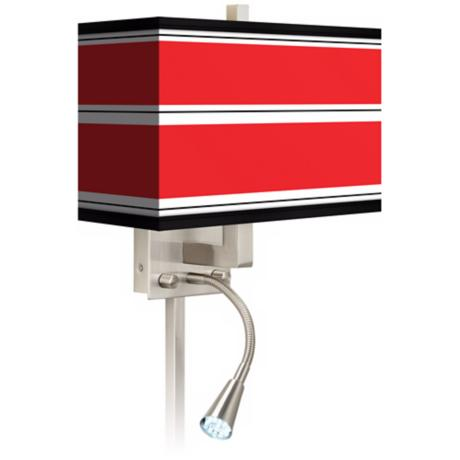 Red Stripes Giclee LED Reading Light Plug-In Sconce