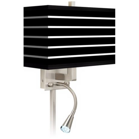 Bold Black Stripe Giclee LED Reading Light Plug-In Sconce