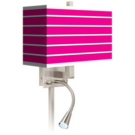 Bold Pink Stripe Giclee LED Reading Light Plug-In Sconce