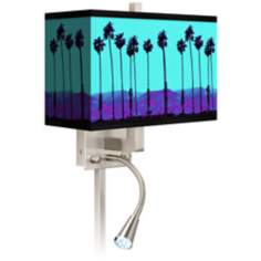 Palm Tree Haze Giclee LED Reading Light Plug-In Sconce