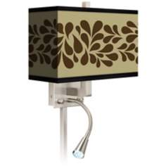 Brown Splash On Tan Giclee LED Reading Light Plug-In Sconce