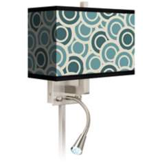 Blue and Green Circles LED Reading Light Plug-In Sconce