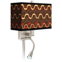 Wave Stitch Giclee LED Reading Light Plug-In Sconce