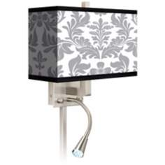 Grey Flourish Giclee LED Reading Light Plug-In Sconce