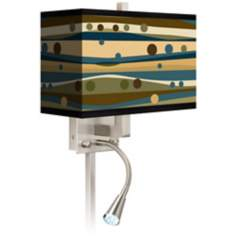 Dots and Waves Giclee LED Reading Light Plug-In Sconce