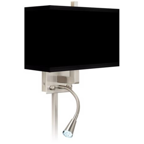 All Black Giclee LED Reading Light Plug-In Sconce