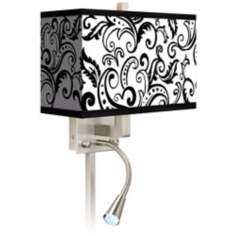 Regency Black Giclee LED Reading Light Plug-In Sconce