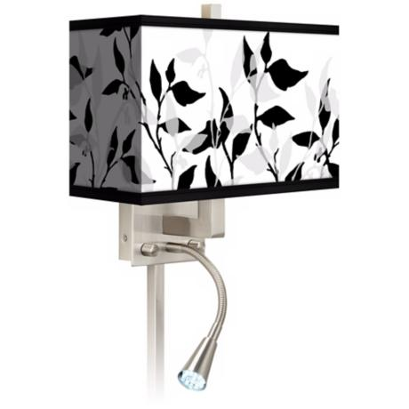 Three-Tone Leaves Giclee LED Reading Light Plug-In Sconce