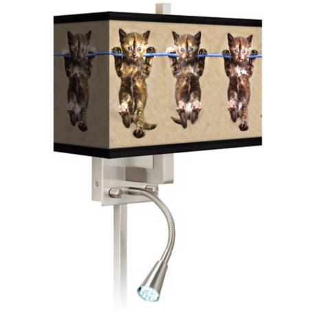 Cool Cat Giclee LED Reading Light Plug-In Sconce