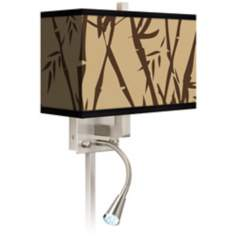 Earth Bamboo Giclee LED Reading Light Plug-In Sconce
