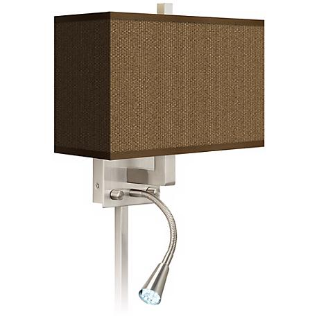 Khaki Giclee LED Reading Light Plug-In Sconce