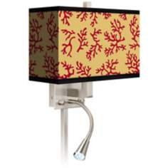 Crimson Coral Giclee LED Reading Light Plug-In Sconce