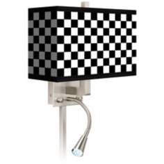 Checkered Black Giclee LED Reading Light Plug-In Sconce