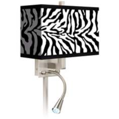 Safari Zebra Giclee LED Reading Light Plug-In Sconce