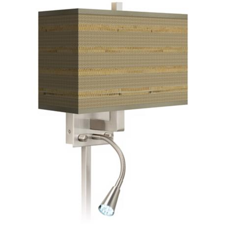 Woven Reed Giclee LED Reading Light Plug-In Sconce