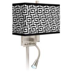 Greek Key Giclee LED Reading Light Plug-In Sconce