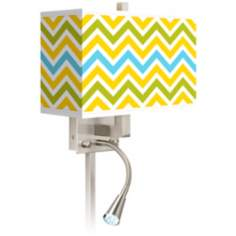 Citrus Zig Zag Giclee LED Reading Light Plug-In Sconce