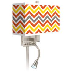 Flame Zig Zag Giclee LED Reading Light Plug-In Sconce
