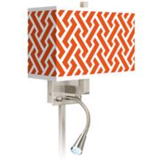 Red Brick Weave Giclee LED Reading Light Plug-In Sconce