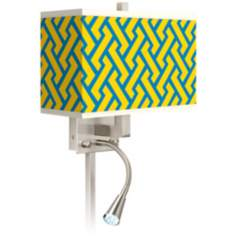 Yellow Brick Weave Giclee LED Reading Light Plug-In Sconce