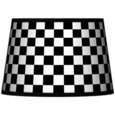 Checkered Black Tapered Lamp Shade 13x16x10.5 (Spider)