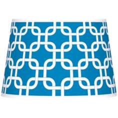 Blue Lattice Giclee Tapered Lamp Shade 13x16x10.5 (Spider)
