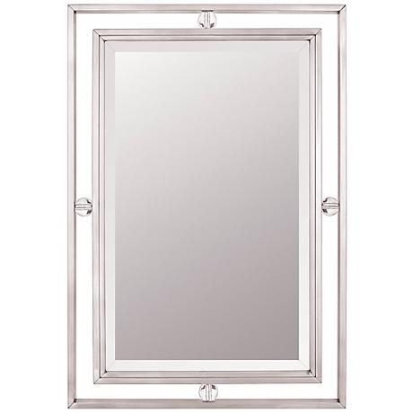 "Quoizel Downtown Collection 32"" High Nickel Wall Mirror"