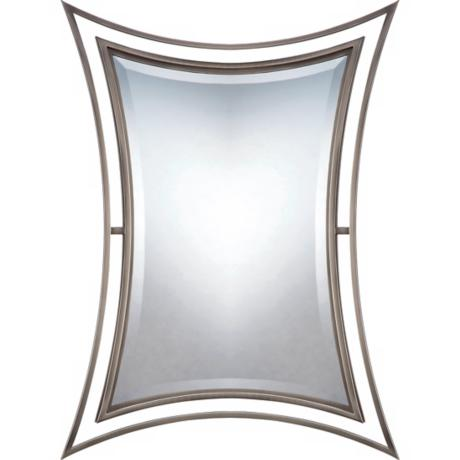 "Quoizel Perry Collection 28"" High Nickel Wall Mirror"