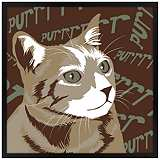 "Purr 26"" Square Black Giclee Wall Art"