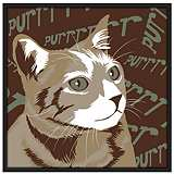 "Purr 37"" Square Black Giclee Wall Art"