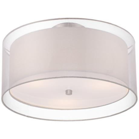 "Double Drum 18"" Wide White Ceiling Light"