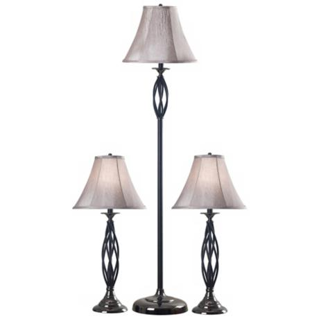 Set of 3 Sperry Bronze Floor and Table Lamps