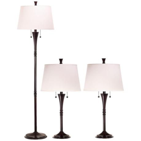 Set of 3 Park Avenue Bronze Floor and Table Lamps