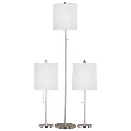 Set of 3 Selma Brushed Steel Floor and Table Lamps