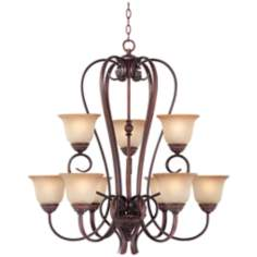 "Bronze with Scavo Glass 33 1/4"" Wide 2-Tier Chandelier"