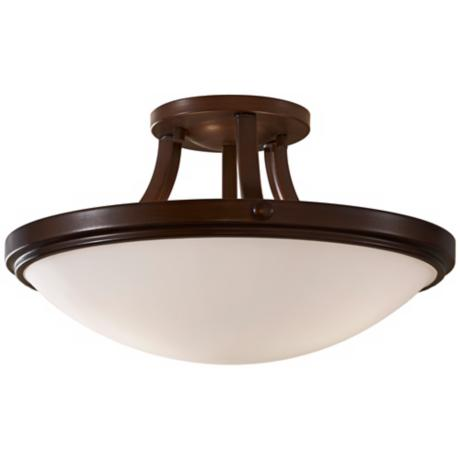 "Murray Feiss Perry Bronze 15 3/4"" Round Ceiling Light"