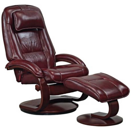 Mac Motion Engal Oxblood Leather Recliner and Ottoman