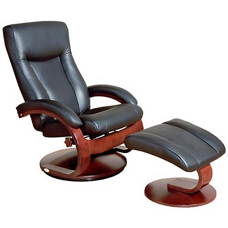 Mac Motion Esper Black Leather Recliner and Ottoman