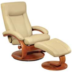 Mac Motion Esper Cobblestone Leather Recliner and Ottoman