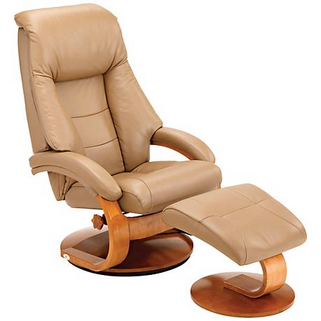 Mac Motion Berk Sand Leather Pillow Top Recliner and Ottoman