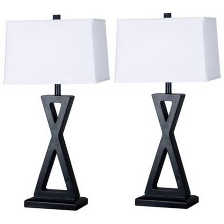 Set of 2 Logan Dark Bronze Table Lamps